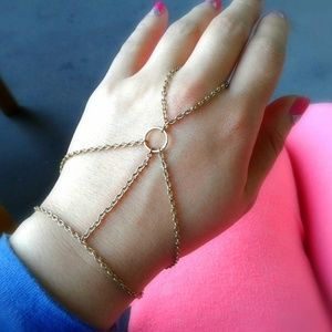 Gold Ring Harness Bracelet Hand Chain